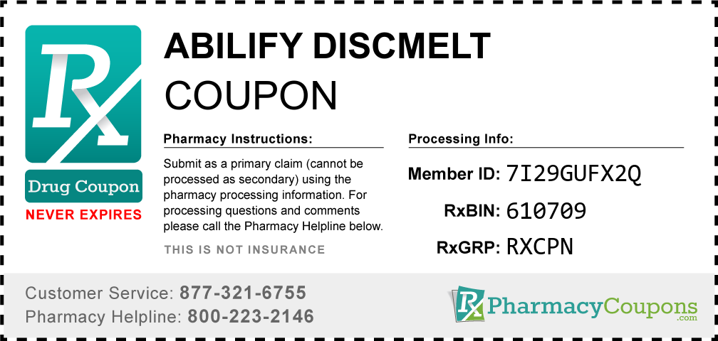 Abilify discmelt Prescription Drug Coupon with Pharmacy Savings