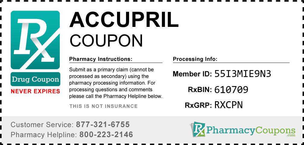 Accupril Prescription Drug Coupon with Pharmacy Savings