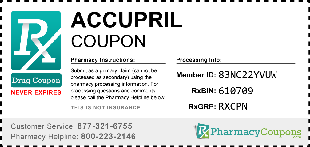 Accupril Prescription Drug Coupon with Pharmacy Savings