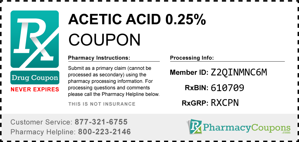 Acetic acid 0.25% Prescription Drug Coupon with Pharmacy Savings