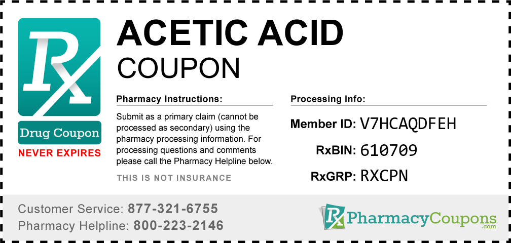 Acetic acid Prescription Drug Coupon with Pharmacy Savings