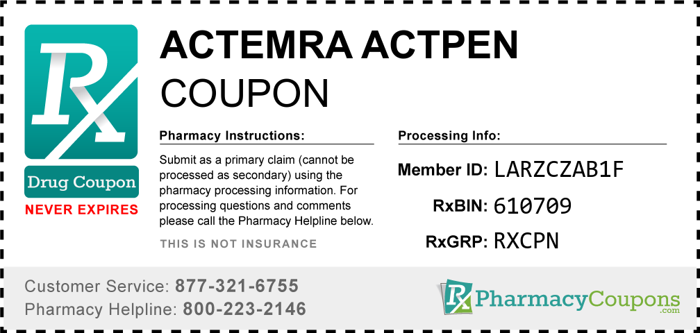 Actemra actpen Prescription Drug Coupon with Pharmacy Savings