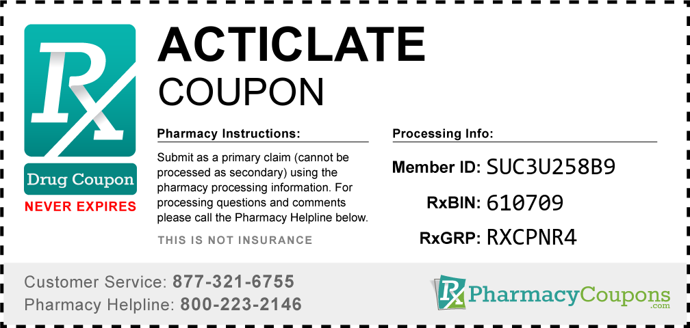 Acticlate Prescription Drug Coupon with Pharmacy Savings