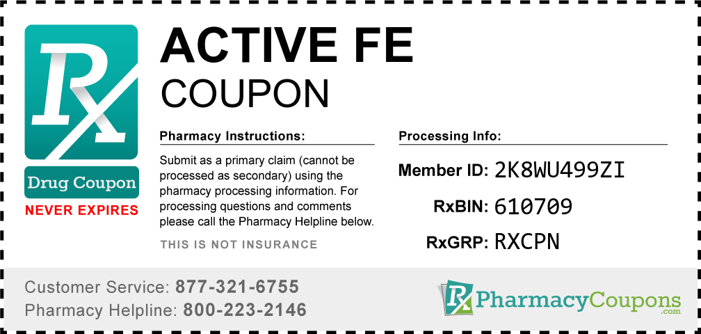 Active fe Prescription Drug Coupon with Pharmacy Savings