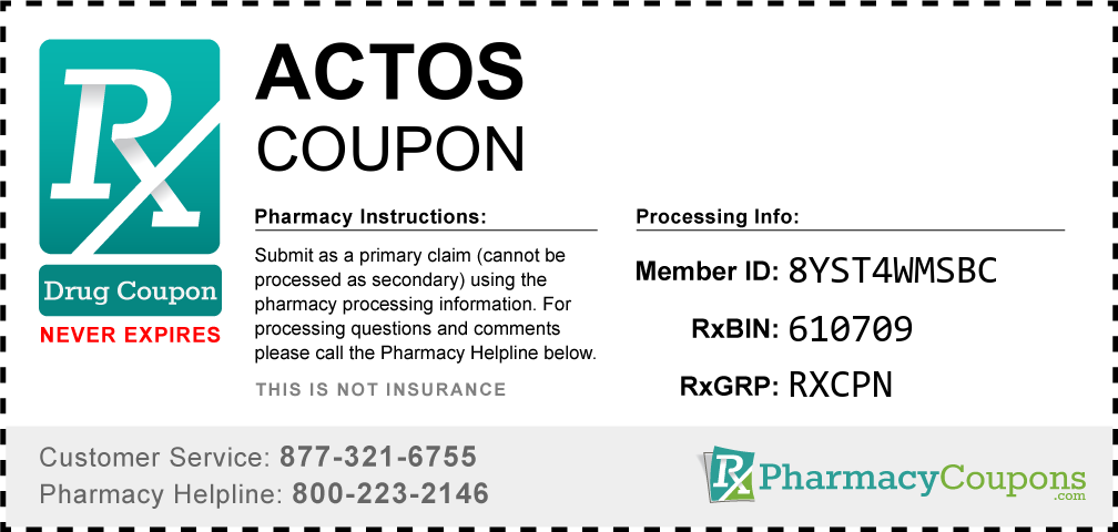 Actos Prescription Drug Coupon with Pharmacy Savings
