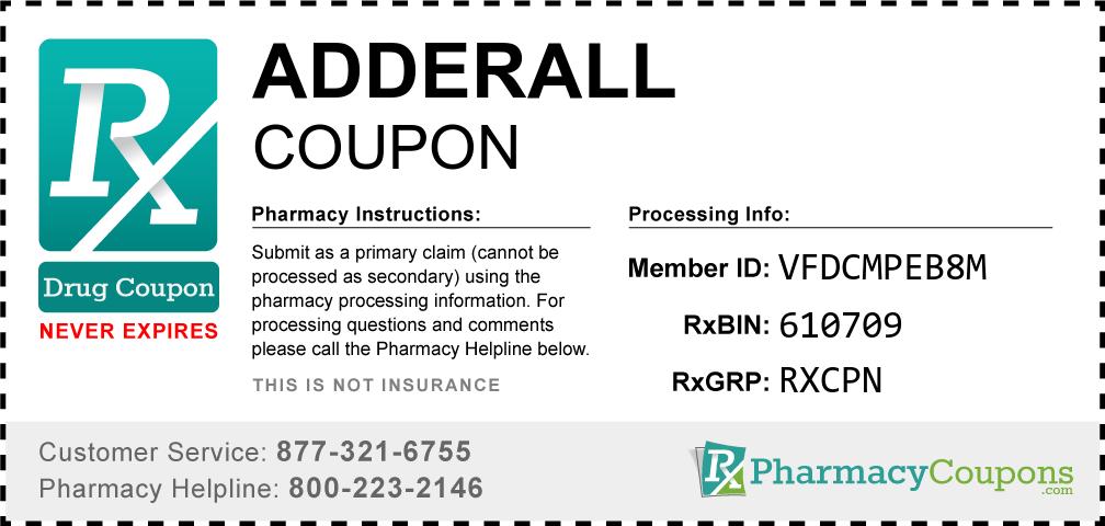 Adderall Prescription Drug Coupon with Pharmacy Savings