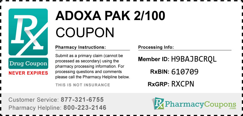 Adoxa pak 2/100 Prescription Drug Coupon with Pharmacy Savings