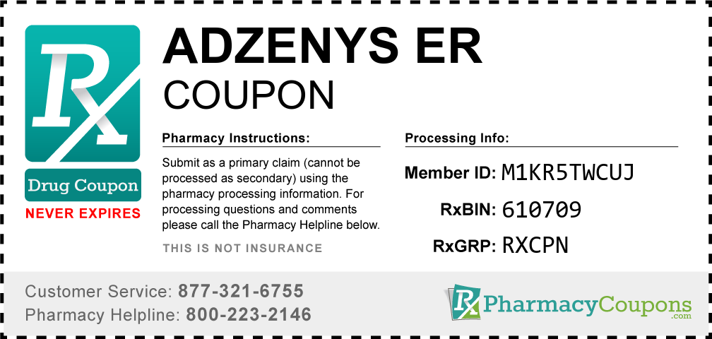 Adzenys er Prescription Drug Coupon with Pharmacy Savings