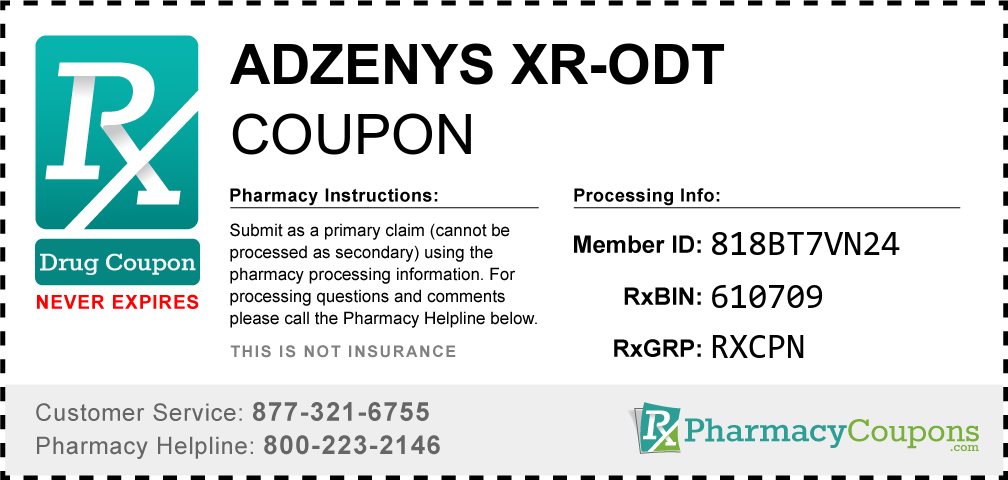 Adzenys xr-odt Prescription Drug Coupon with Pharmacy Savings