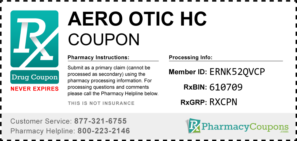 Aero otic hc Prescription Drug Coupon with Pharmacy Savings