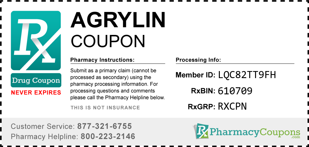 Agrylin Prescription Drug Coupon with Pharmacy Savings