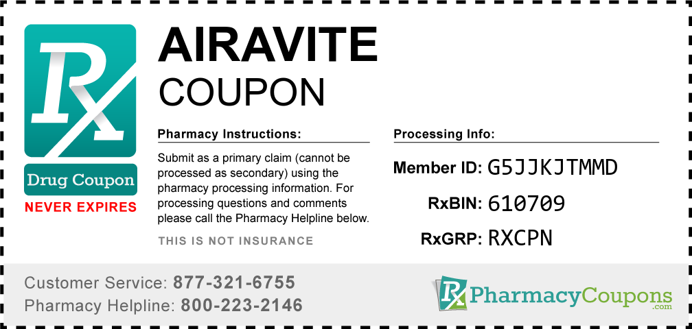 Airavite Prescription Drug Coupon with Pharmacy Savings