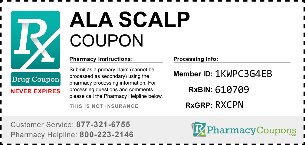Ala scalp Prescription Drug Coupon with Pharmacy Savings