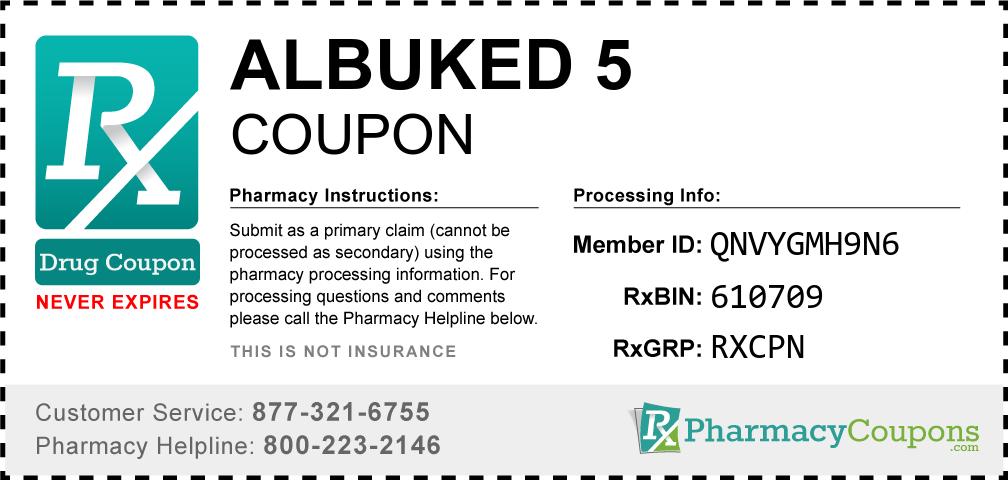 Albuked 5 Prescription Drug Coupon with Pharmacy Savings