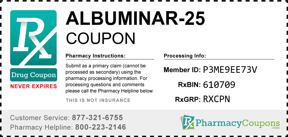 Albuminar-25 Prescription Drug Coupon with Pharmacy Savings