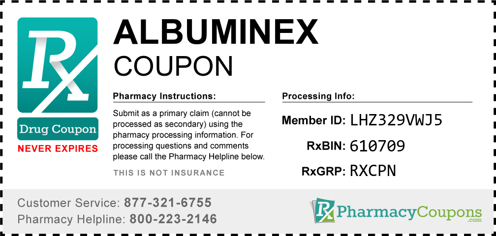 Albuminex Prescription Drug Coupon with Pharmacy Savings