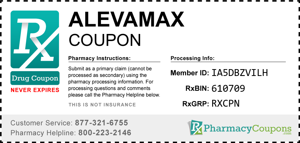Alevamax Prescription Drug Coupon with Pharmacy Savings