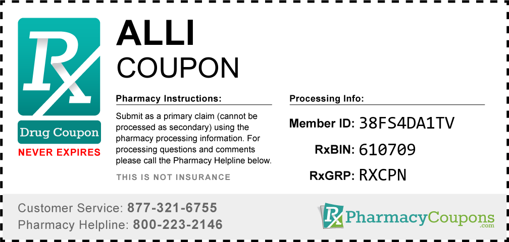 Alli Prescription Drug Coupon with Pharmacy Savings