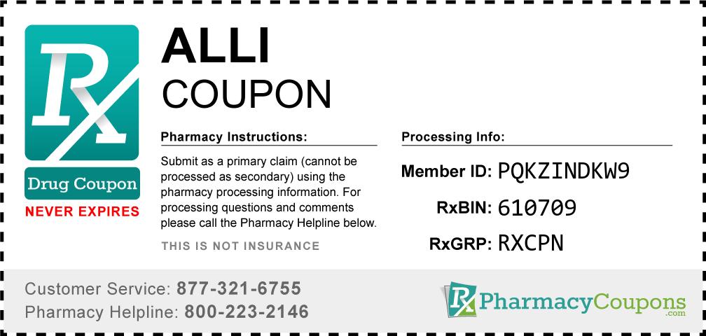 Alli Prescription Drug Coupon with Pharmacy Savings