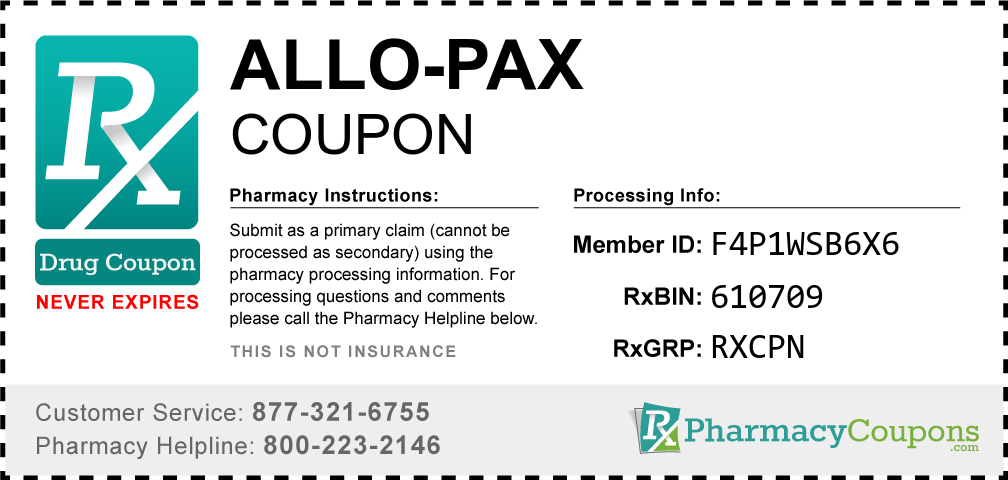 Allo-pax Prescription Drug Coupon with Pharmacy Savings