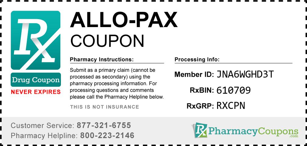 Allo-pax Prescription Drug Coupon with Pharmacy Savings