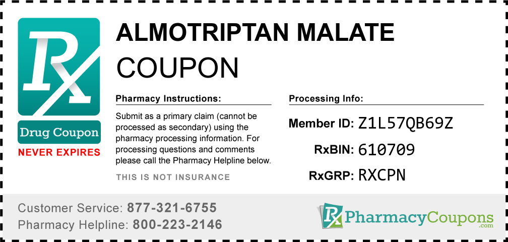 Almotriptan malate Prescription Drug Coupon with Pharmacy Savings