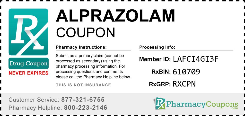 Alprazolam Prescription Drug Coupon with Pharmacy Savings