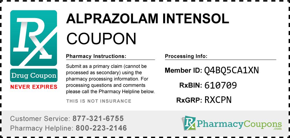 Alprazolam intensol Prescription Drug Coupon with Pharmacy Savings