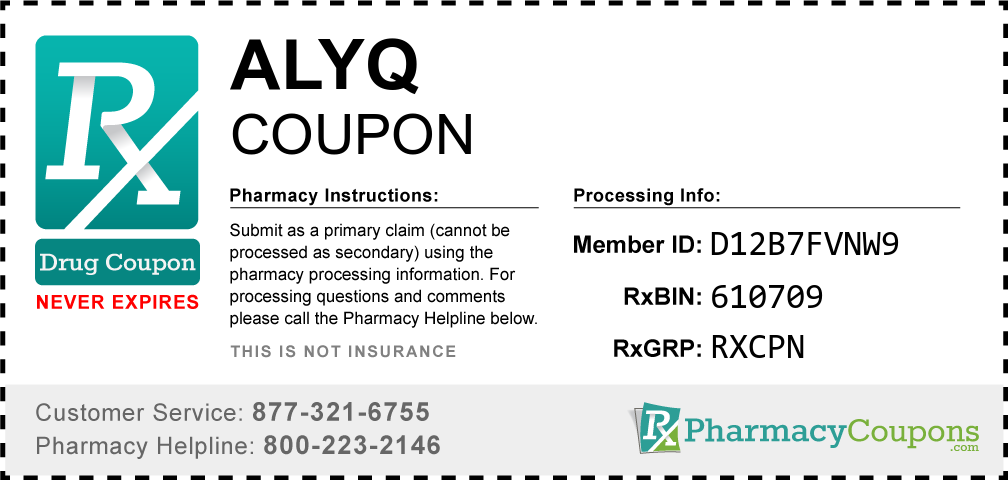 Alyq Prescription Drug Coupon with Pharmacy Savings