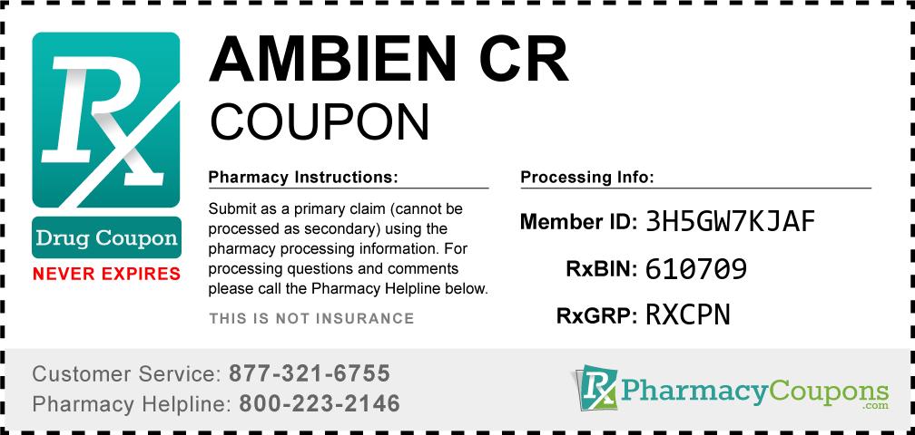 Ambien cr Prescription Drug Coupon with Pharmacy Savings