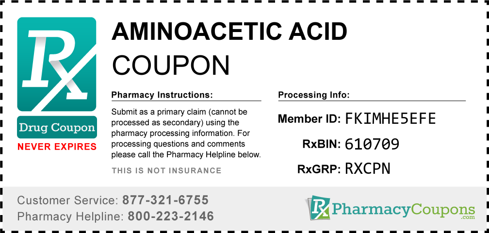 Aminoacetic acid Prescription Drug Coupon with Pharmacy Savings