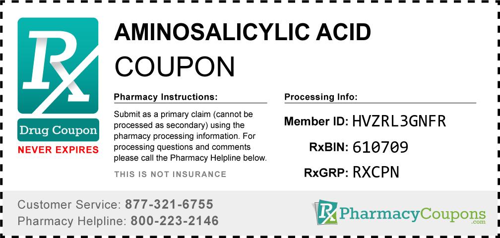 Aminosalicylic acid Prescription Drug Coupon with Pharmacy Savings