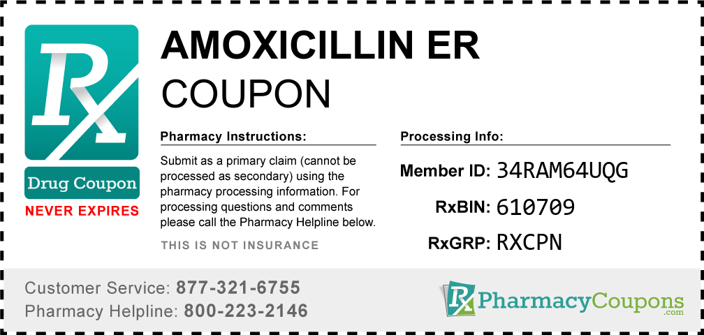 Amoxicillin er Prescription Drug Coupon with Pharmacy Savings