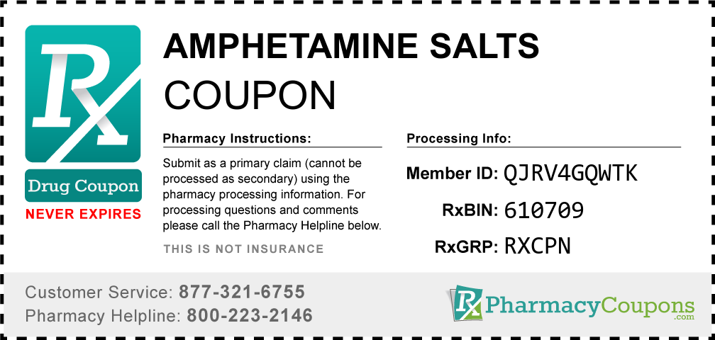 Amphetamine salts Prescription Drug Coupon with Pharmacy Savings
