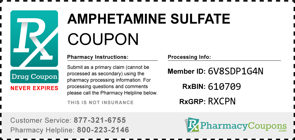 Amphetamine sulfate Prescription Drug Coupon with Pharmacy Savings