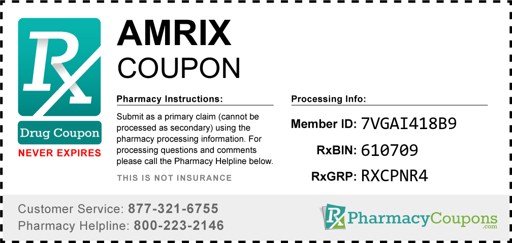 Amrix Prescription Drug Coupon with Pharmacy Savings