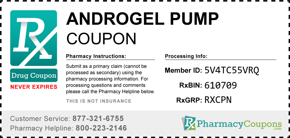 Androgel pump Prescription Drug Coupon with Pharmacy Savings
