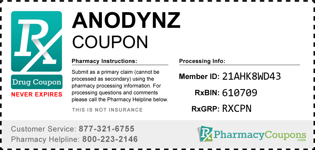 Anodynz Prescription Drug Coupon with Pharmacy Savings