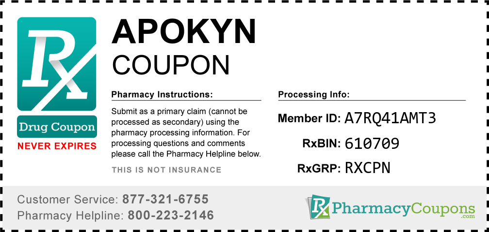 Apokyn Prescription Drug Coupon with Pharmacy Savings