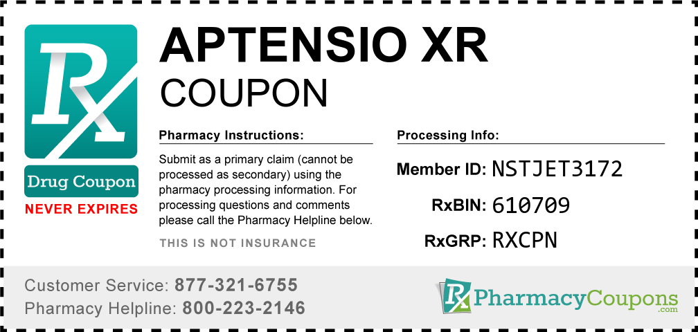 Aptensio xr Prescription Drug Coupon with Pharmacy Savings