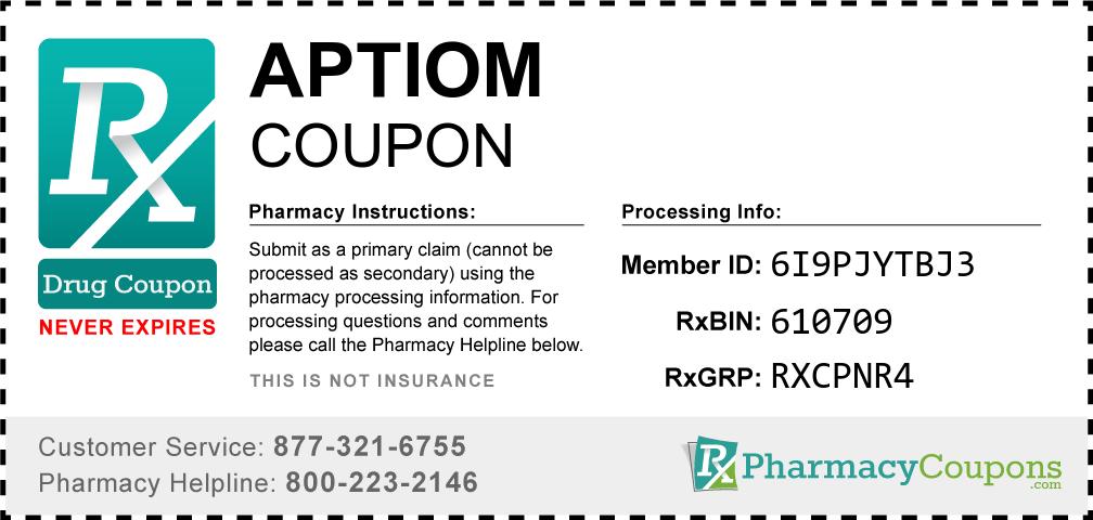 Aptiom Prescription Drug Coupon with Pharmacy Savings
