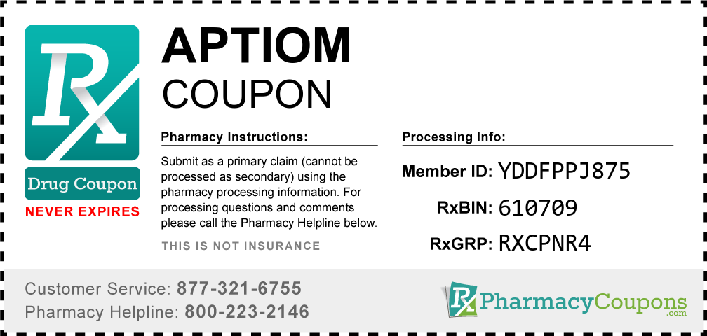 Aptiom Prescription Drug Coupon with Pharmacy Savings