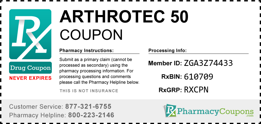 Arthrotec 50 Prescription Drug Coupon with Pharmacy Savings
