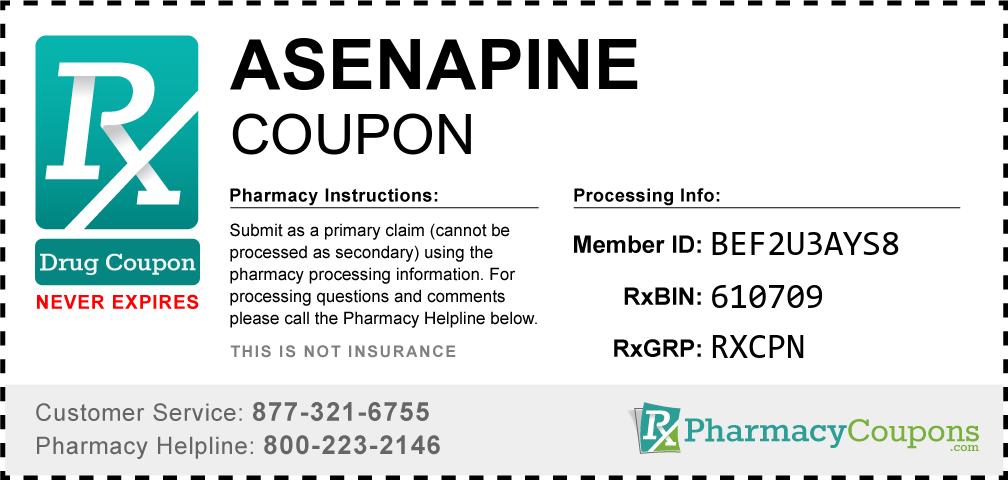 Asenapine Prescription Drug Coupon with Pharmacy Savings