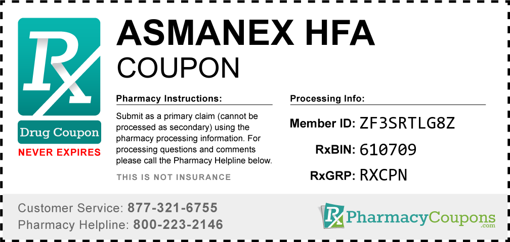Asmanex hfa Prescription Drug Coupon with Pharmacy Savings