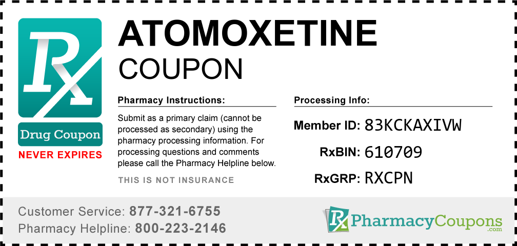 Atomoxetine Prescription Drug Coupon with Pharmacy Savings