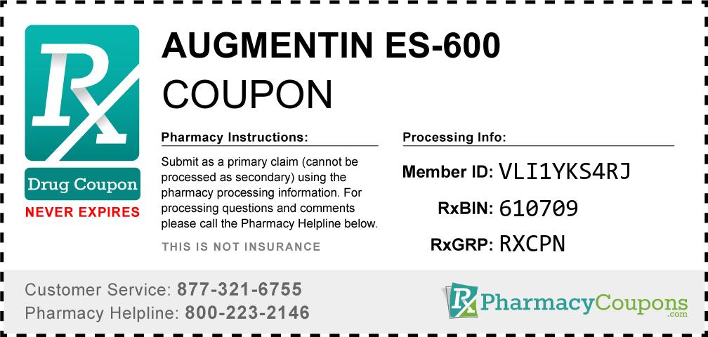 Augmentin es-600 Prescription Drug Coupon with Pharmacy Savings