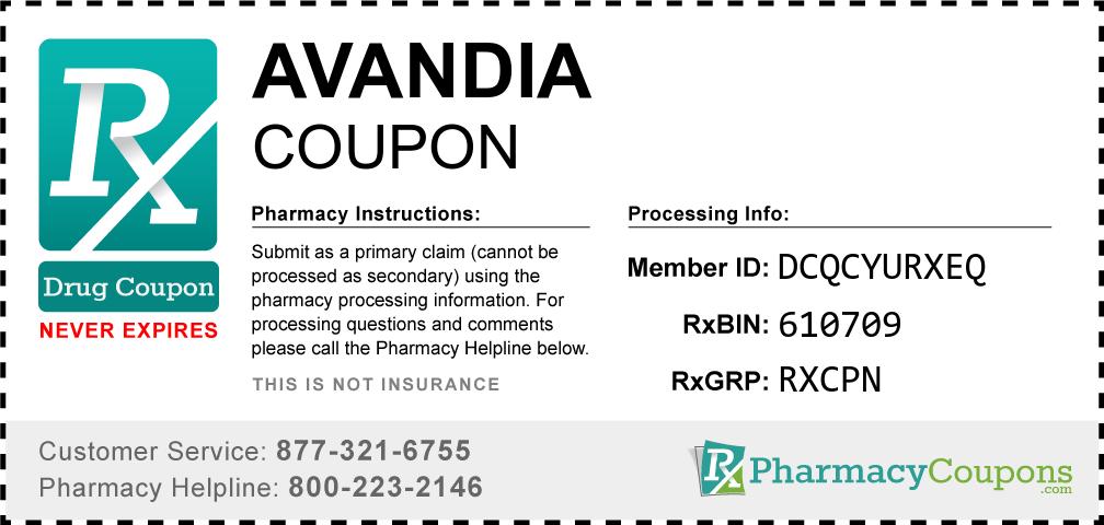 Avandia Prescription Drug Coupon with Pharmacy Savings