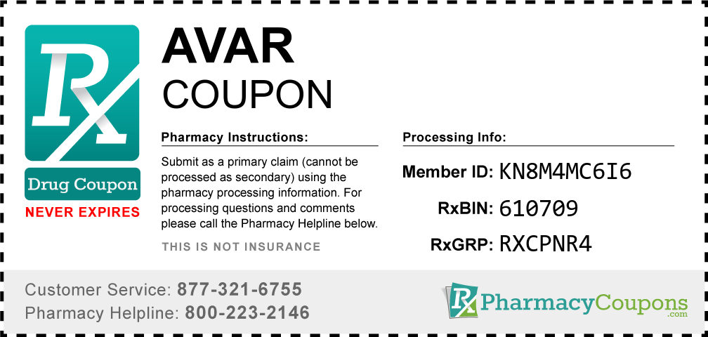 Avar Prescription Drug Coupon with Pharmacy Savings