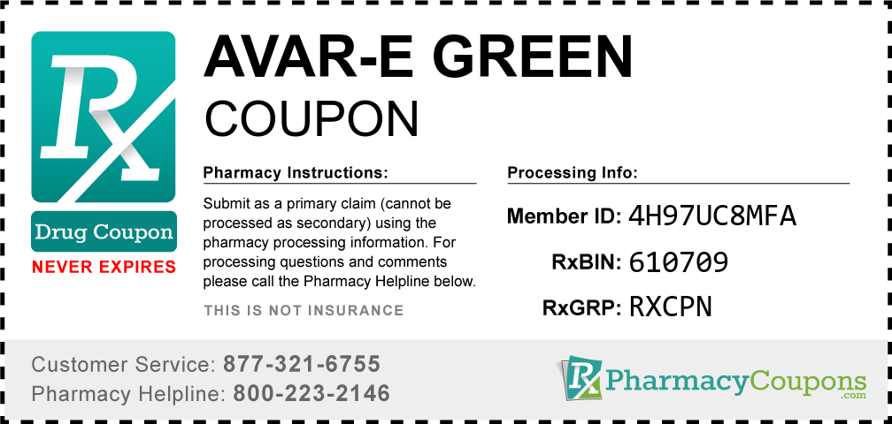 Avar-e green Prescription Drug Coupon with Pharmacy Savings